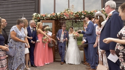 Zoe and Adam at Upwaltham Barns